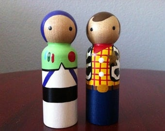 """Toy Story Buzz and Woody Pegbuddies Peg Doll People 3.5"""" Cake topper"""