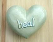 Heal -  Celadon Ceramic Heart Rattle
