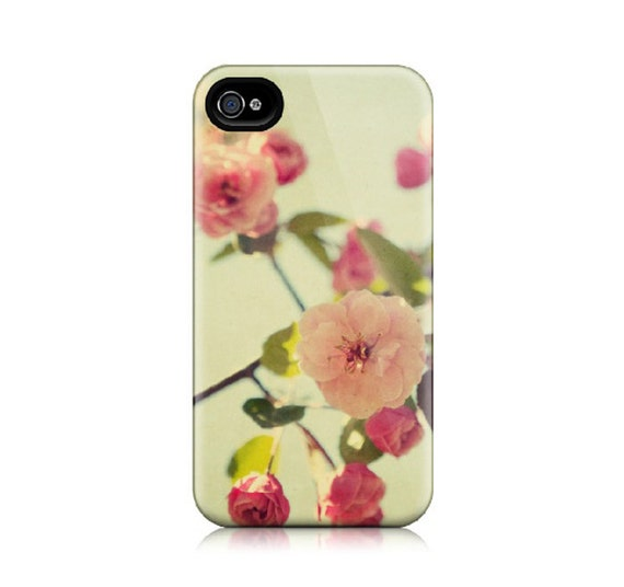 iPhone 4 Case, iPhone 4S Case - Spring Flowers in Mint Green and Pink, Feminine, Floral, Blossoms, Vintage Colors - A Spring Gathering