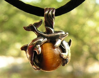 Sterling Silver Dolphins Pendant With Tiger Eye
