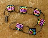 Fused Glass Bracelet Rainbow Tiger, Dichroic Fused Glass Link Bracelet, Animal Pattern -Rainbow Tiger Bracelet