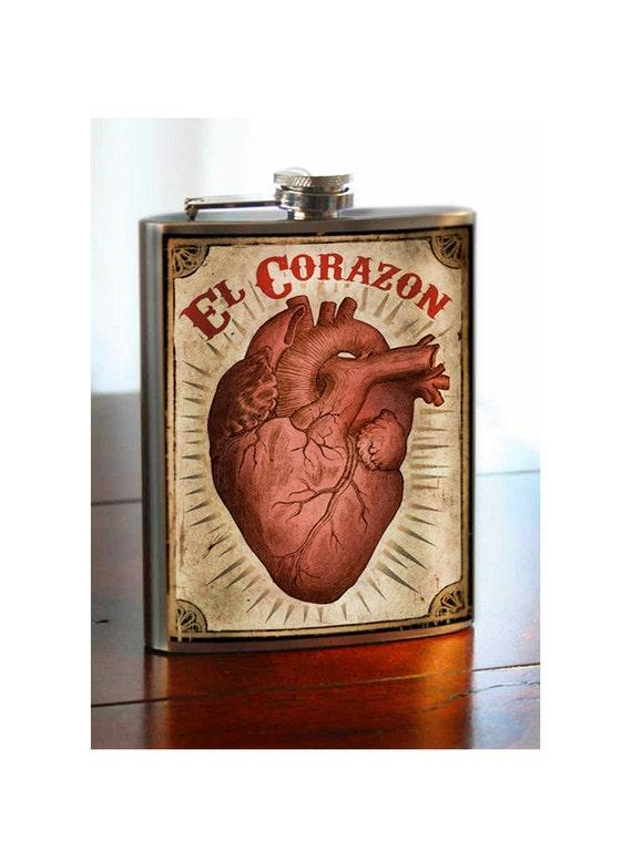 El Corazon - Heart - stainless steel flask - 8 oz.