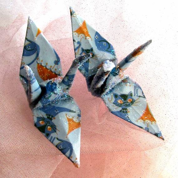 blue kitty cat peace crane bird wedding cake topper origami
