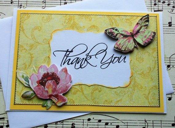 Beautiful Butterfly Thank You Greeting Card