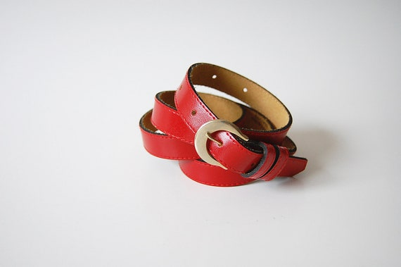 Skinny Leather Belt . Red . Narrow Belt . L XL