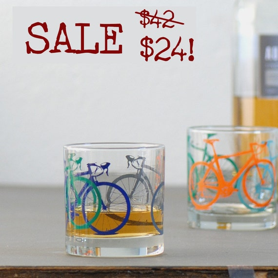 CYBER MONDAY Etsy sale - Vital Bicycle, screen printed glassware, set of four testies, old fashioned