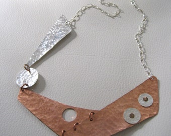 Finding Balance, Sterling Silver, Copper Asymmetric Necklace