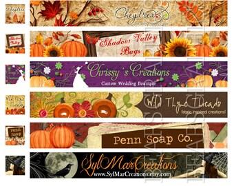 Autumn Etsy Banner, Fall Shop Banner, Seasonal Etsy Banner, Thanksgiving Etsy Banner, Holiday Banner, Custom Etsy Shop Banner, Cover Photo