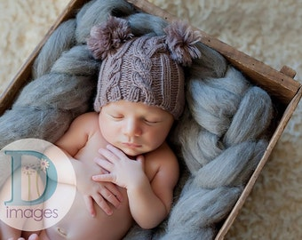 Baby hat newborn photo prop hand knit cabled jester mid brown taupe poms neutral boy girl unigender professional photography