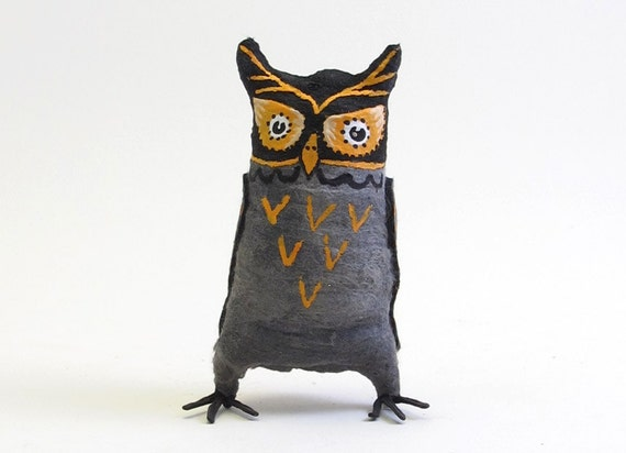 Spun Cotton Vintage Style Halloween Owl OOAK