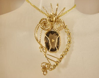 Smokey Quartz Pendant set in 14K Rolled Gold and Gold Filled Beads