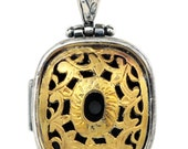 Ornate Floral Byzantine Pendant - Sterling Silver & Gold Plated Silver
