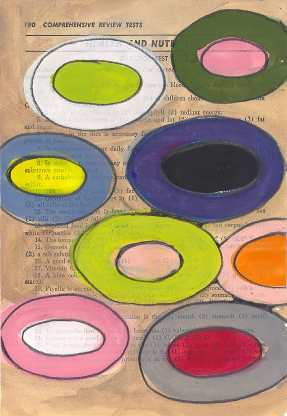 Floating Circles - Original Abstract Painting on Antique Book Paper