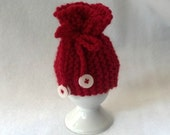 Red Ribbed Egg Cozy - a wool cozy egg warmer - one
