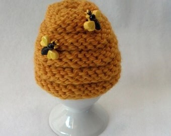 Egg Cozy Egg Cosy Egg Warmer - soft boiled egg wool cozy - beehive, bee hive in gold wool