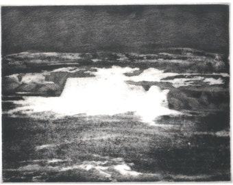 Ohiopyle Falls etching of Western Pennsylvania