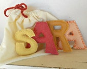 Alphabet Felt Letters Learning Toy Set of 4 Letters Natural and Eco Friendly Waldorf Soft Plush Toy Set Choose Your Letters Back To School