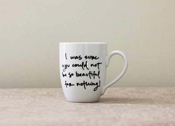 Beautiful for Nothing. Pride and Prejudice Mug . Jane Austen