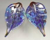 Blue amber lampwork leaf beads - earring pair - ARCATA BLUE - Beadwife SRA