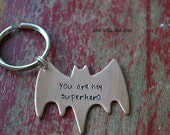 superhero keychain-hand stamped copper keychain-fathers day gift-the FIRST and still the best price!-featured in pregnancy and newborn mag!