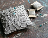 Linen pincushion - crochet motif -- natural