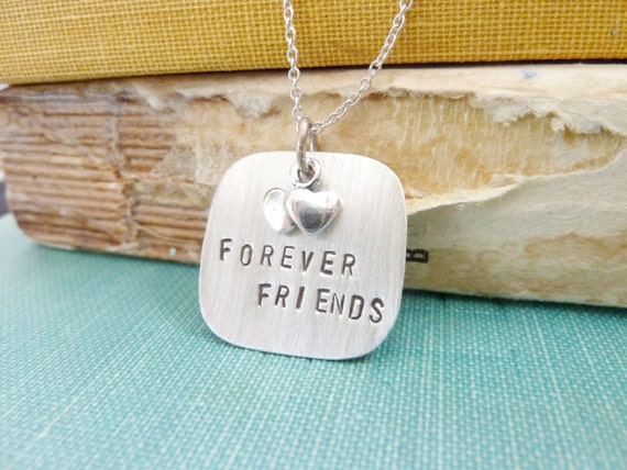 forever friends, hand stamped necklace, oxidized sterling silver and brass