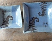 Two Square Plates With Ferns and Bees, Country Powder Blue Plates, Handmade Organic Serving Dishes, Rustic Farmhouse Modern, Ready to Ship