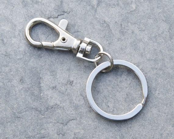 simple chrome keyring with clip for men and women