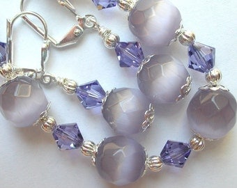 Cats Eye Tanzanite Bracelet and Earring Set Swarovski Crystal Silver