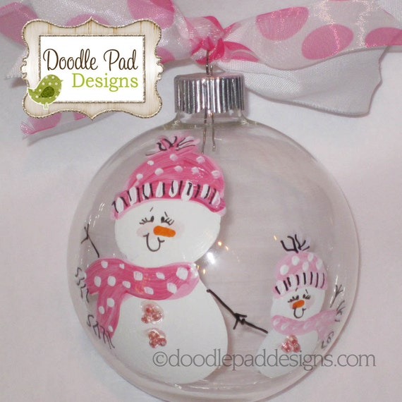 Hand Painted Mother Daughter Snowman Ornament Personalized