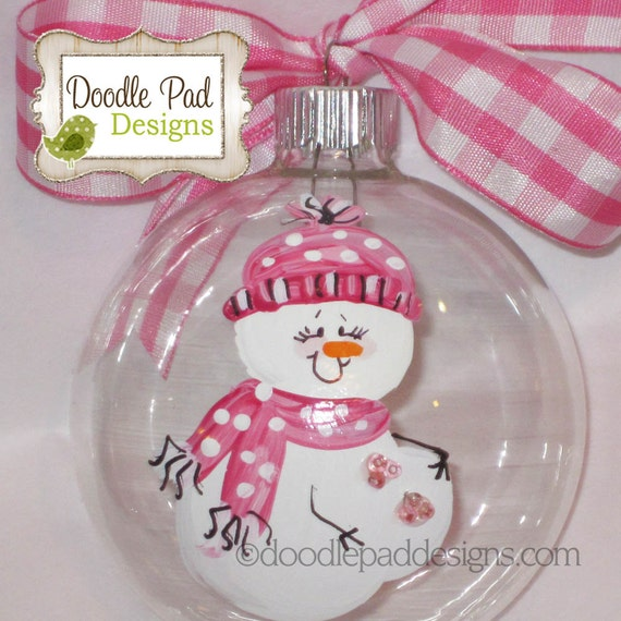 Baby Girl Christening Favors Glass Ornament: Expecting Pregnant Snowman Hand Painted Ornament