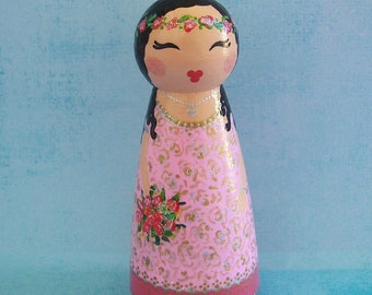 Hand Painted Love Boxes Rose Princess Peg Doll Cake Topper Wood