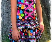 Flower/Dot Corset top & Skort set Girls size 5