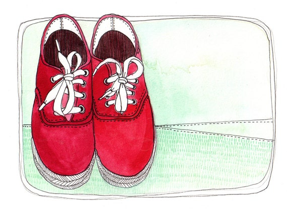 art Illustration Print of Red Shoes 8x10 - Let's Go on an adventure