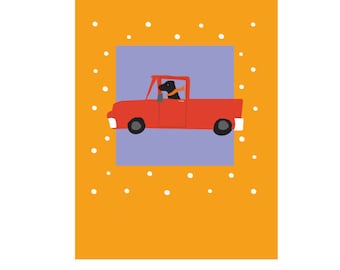 go dog go... dog in truck illustration print