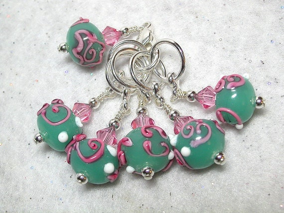 Knitting Stitch Markers Pink and Pacific Opal Flowers Lampwork