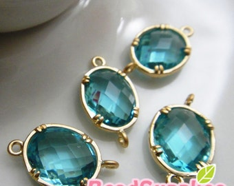 CH-GL-03001- Gold plated, colored faceted  oval connector, Aqua, 4 pcs