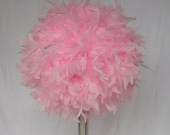 """6""""-14""""  Feather Centerpiece Kissing Ball,Bouquet, baby pink,coral hot pink,bubblegum pink,candy pink,crystals,girl party"""