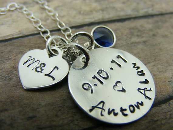 Mommy necklace-Handstamped-personalized-sterling silver necklace- baby-birthday