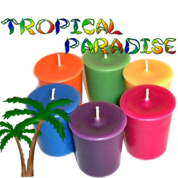 6 Tropical Paradise Variety Votive Candles Tahitian Waterfall to Bermuda Triangle Scents