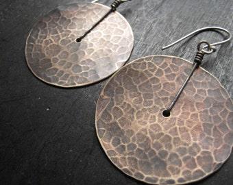 Large Brass Disk Earrings