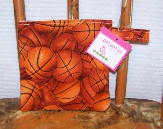 Reusable Little Snack Bag - pouch adults kids basketballs eco friendly by PETUNIAS