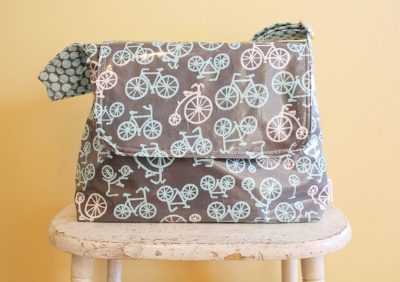 Bicycle Laminate Messenger Diaper Bag by PETUNIAS - hobo bag purse tote laptop gym sack gift baby shower nappy everyday ready to ship modern