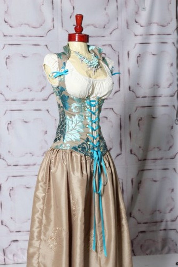 SALE-LAST ONE-Waist 40 to 42 Lavish Turquoise Damask Vixen Corset