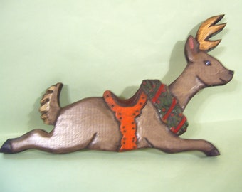 Christmas Reindeer with holly berry necklace  Dasher, Dancer Prancer