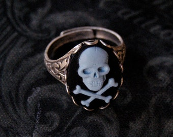 Skull Ring- Black, Blue and Silver