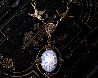 Victorian Flower Cameo Necklace- Brass and Blue