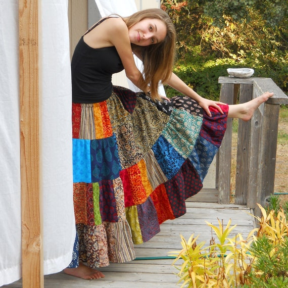 Womens Long Patchwork Skirt 4 tiers handmade for all sizes to