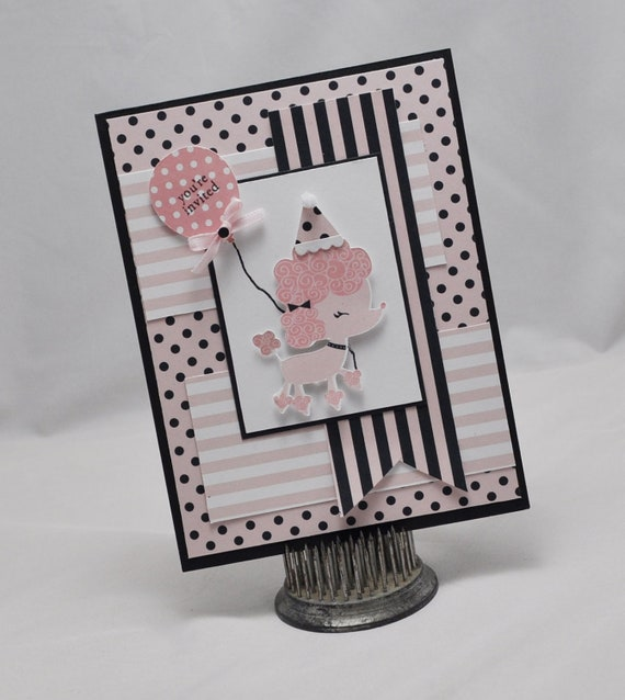 Handmade poodle birthday party invitation card baby shower by cards il570xn stopboris Image collections