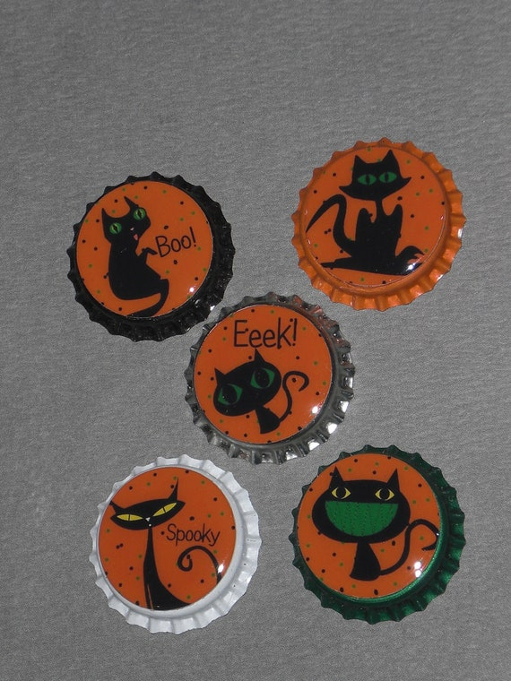 5 Assorted Sealed Bottle Caps Spooky Black Cat Halloween for Hair Bows Necklaces Party Favors Toppers Scrapbooking